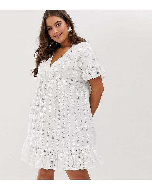 cdebcd9faa53 ASOS - White Asos Design Curve V Front V Back Smock Mini Dress With Pep Hem  ...
