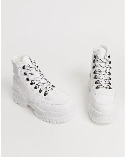 a7cd0c5a0f ASOS Dash Chunky Hi Top Trainers In White Croc in White - Lyst
