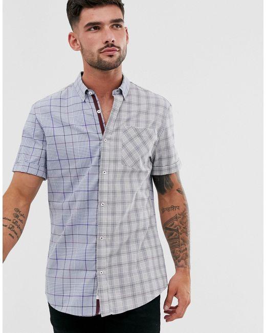 Серая Рубашка В Клетку -серый River Island для него, цвет: Gray