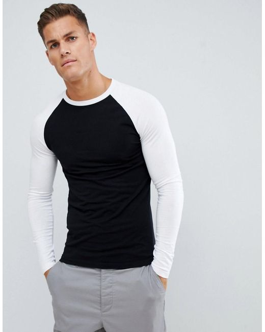 c9e30f91 ASOS - Black Muscle Fit Long Sleeve Crew Neck T-shirt With Stretch With  Contrast ...