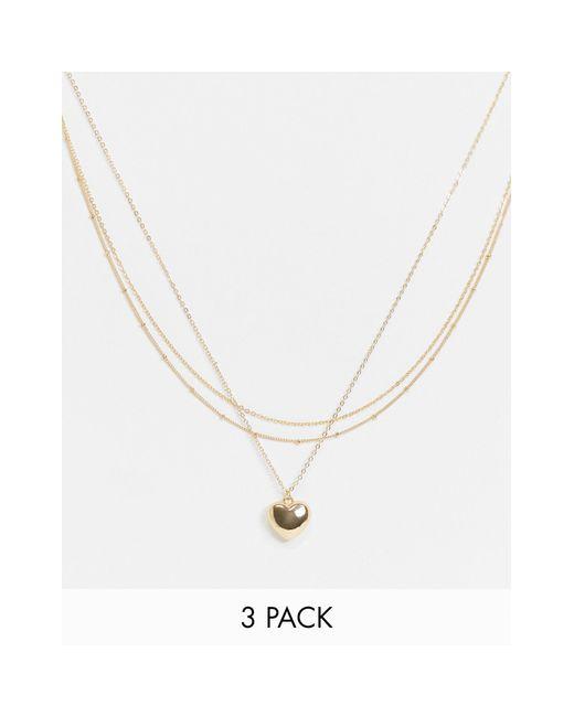 ASOS Metallic – 3er-Set goldfarbene Halsketten im Punkt-Strich-Design mit Herzanhänger
