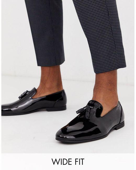 Черные Лакированные Лоферы Для Широкой Стопы С Кисточками ASOS для него, цвет: Black