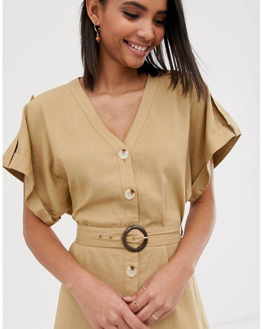 Светло-бежевое Платье-рубашка Миди В Стиле Милитари -светло-бежевый Warehouse, цвет: Multicolor
