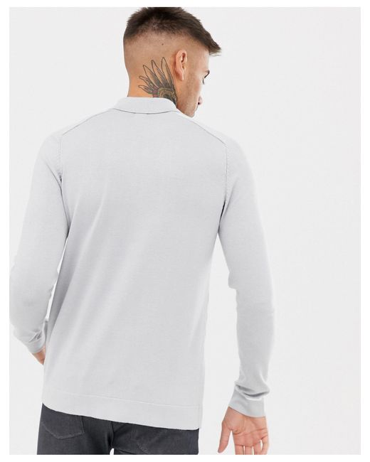River Island – Hellgraues, gestricktes Hemd mit Zopfmuster und Knöpfen in Gray für Herren