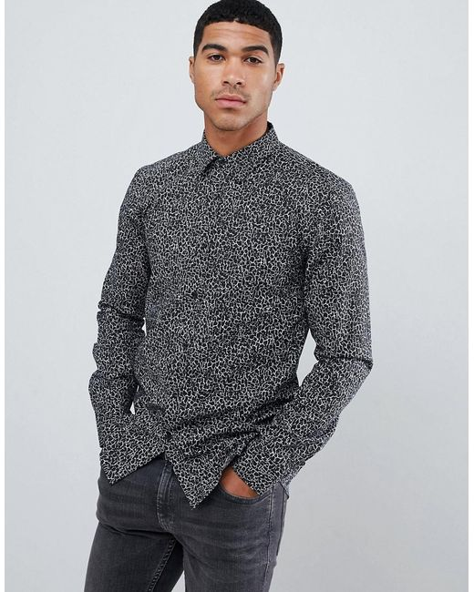 416e51a2aa99 HUGO - Black Elisha Extra Slim Fit Poplin Shirt In Abstract Geo Print for  Men ...