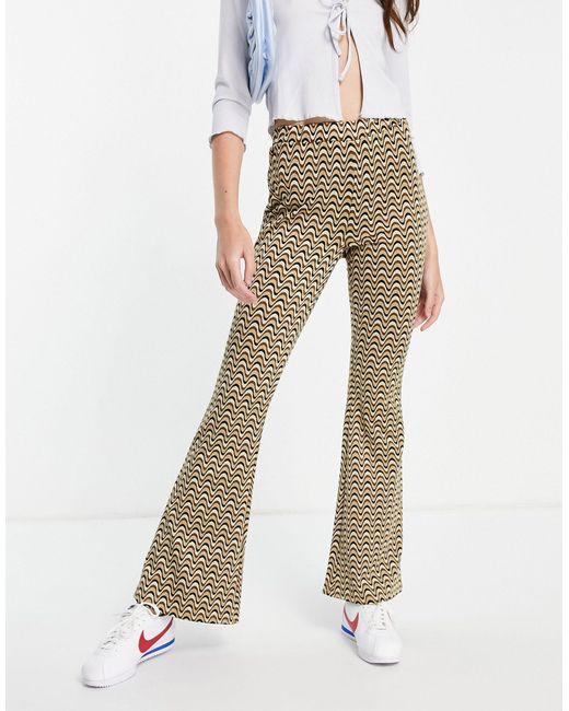 Pantalon évasé en jacquard à rayures ondulées ASOS en coloris Multicolor