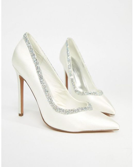 ASOS - White Phoenix Bridal High Heeled Court Shoes In Ivory - Lyst