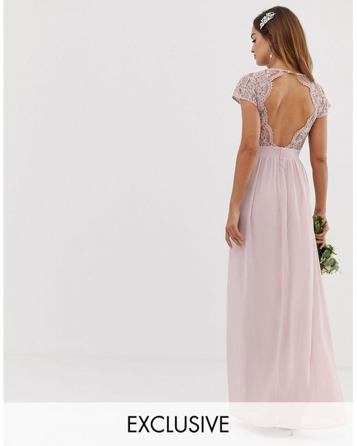 TFNC London Natural Bridesmaid Exclusive Open Back Scalloped Lace Dress