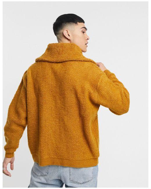 Maglione oversize lavorato effetto peluche color cuoio con colletto di ASOS in Multicolor da Uomo