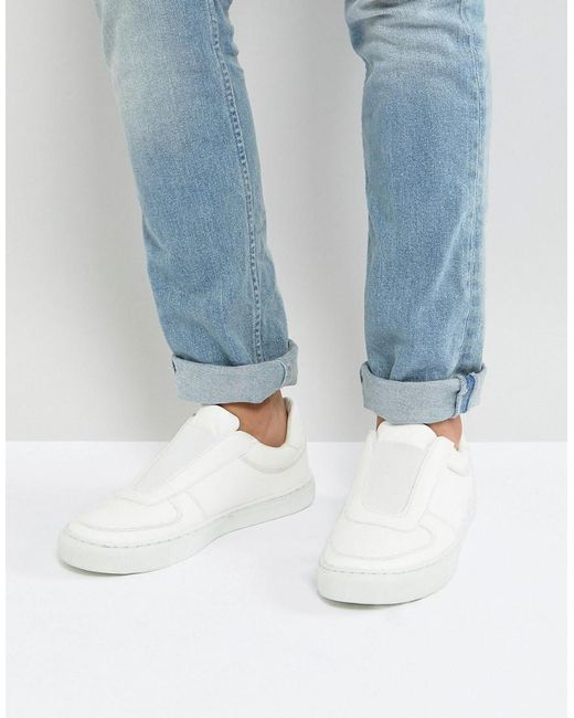 ASOS - Slip On Sneakers In White With Elastic - Lyst