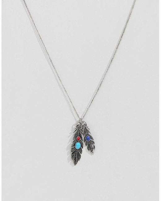 ASOS DESIGN - Metallic Necklace With Feather And Stones In Burnished Silver for Men - Lyst