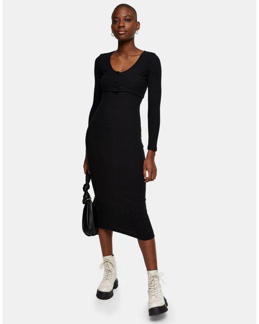 Черное Платье-кардиган Миди В Рубчик -черный Цвет TOPSHOP, цвет: Black