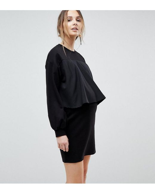 ASOS   Black Nursing Sweat Dress With Woven Overlay   Lyst