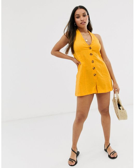 ASOS DESIGN Petite - Combishort dos nu avec boutons et rayures ASOS en coloris Orange