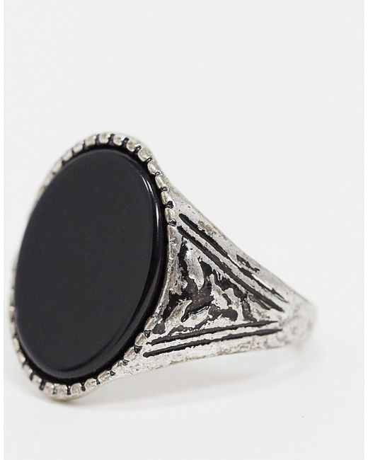 Серебристое Кольцо С Черным Ониксом Inspired-синий Reclaimed (vintage) для него, цвет: Black