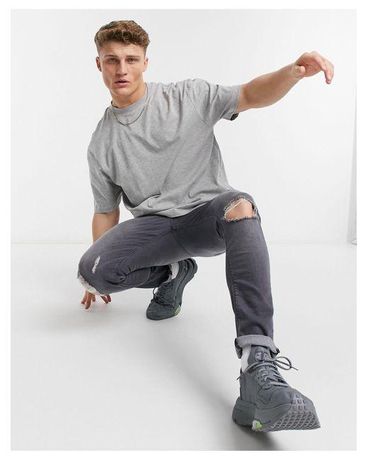Серая Oversize-футболка -серый River Island для него, цвет: Gray