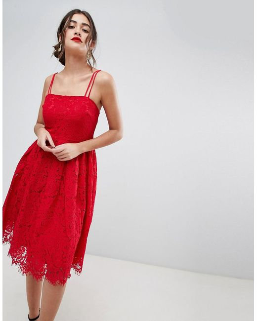 New Look Red Lace Skater Dress