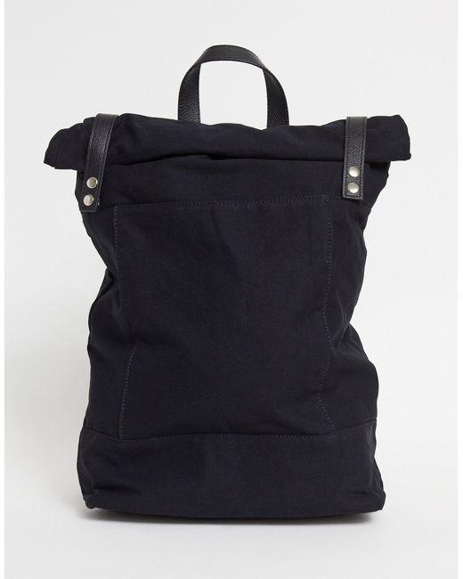 Черный Парусиновый Рюкзак С Подворачивающимся Верхом И Кожаной Отделкой ASOS для него, цвет: Black