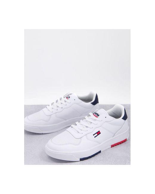 Белые Кожаные Кроссовки С Маленьким Логотипом -белый Tommy Hilfiger для него, цвет: White