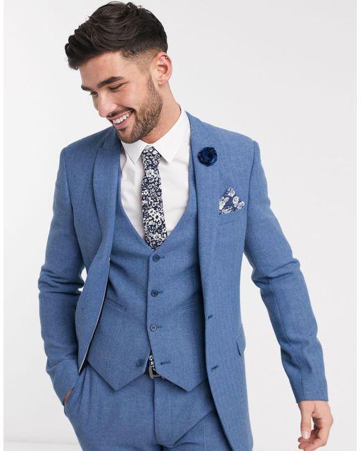 Wedding - Giacca da abito super skinny di ASOS in Blue da Uomo