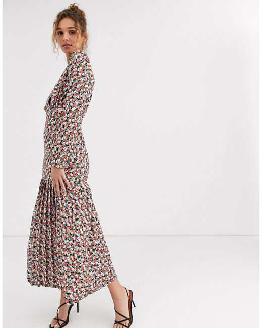 Чайное Платье Макси С Длинными Рукавами И Цветочным Принтом ASOS, цвет: Multicolor