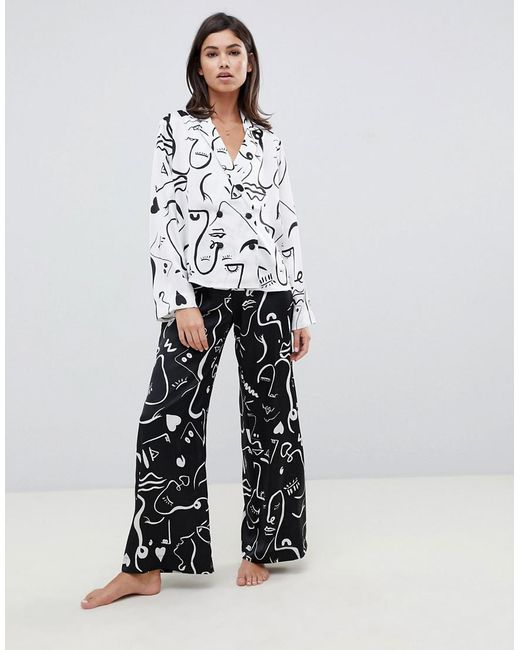 ASOS - White Satin Mono Face Print Double Breasted Shirt And Pants Pyjama  Set - Lyst ... 7d26d7c2f