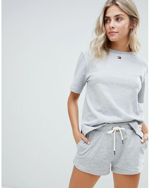 Tommy Hilfiger - Gray Flag Cotton Shorts - Lyst