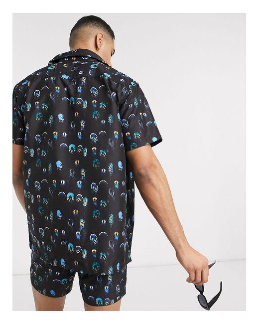 Рубашка Из Переработанной Ткани С Принтом Перьев От Комплекта -мульти South Beach для него, цвет: Multicolor