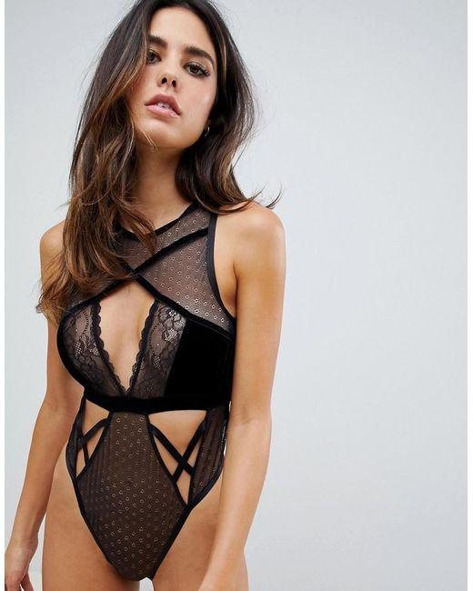 73c142cb654b ASOS - Black Emma Velvet & Lace Bodysuit - Lyst ...