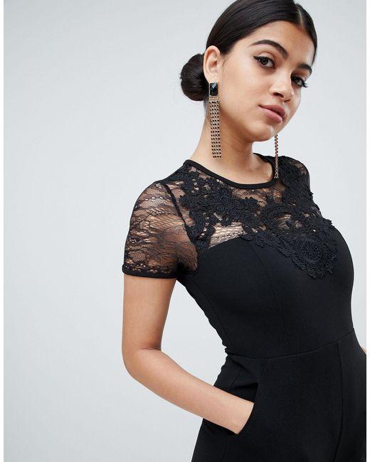 Комбинезон С Кружевом -черный AX Paris, цвет: Black