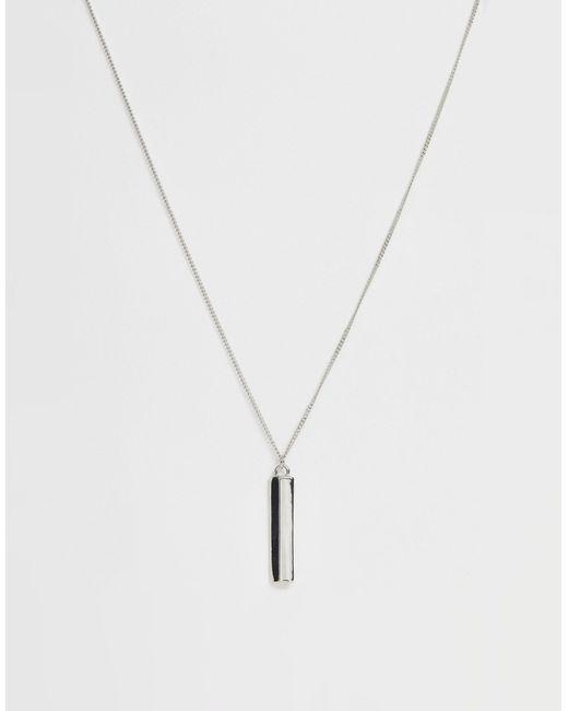 Asos Minimal Bar Pendant Necklace In Silver Metallic For Men Lyst