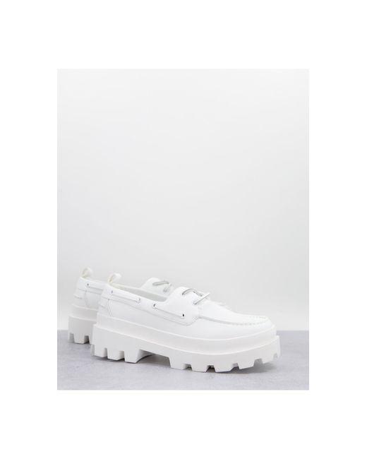 Белые Мокасины Из Искусственной Кожи На Массивной Подошве ASOS для него, цвет: White