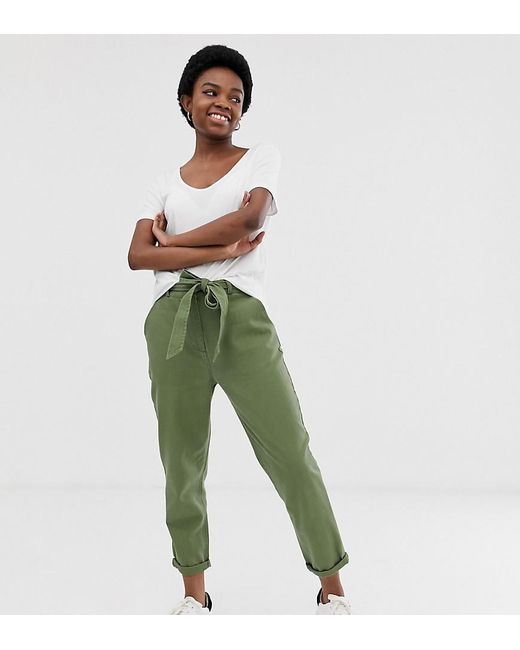 3ff577f2 ASOS - Green Asos Design Petite Washed Soft Twill Tie Waist Casual Trouser  - Lyst ...