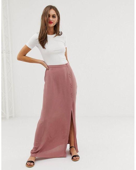 4b5adc33cf63e8 Jupe longue froissée avec boutons recouverts femme de coloris rose