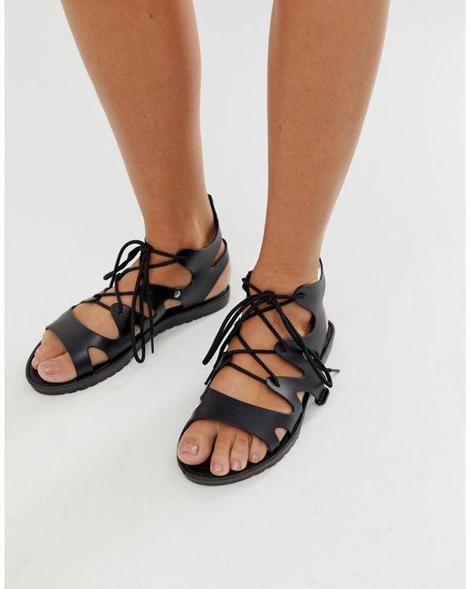 bc8464f4714 ASOS Felicity Jelly Tie Leg Flat Sandals in Black - Lyst