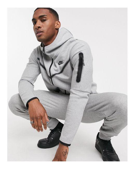 Nike Gray Tech Fleece Full Zip Hoodie for men