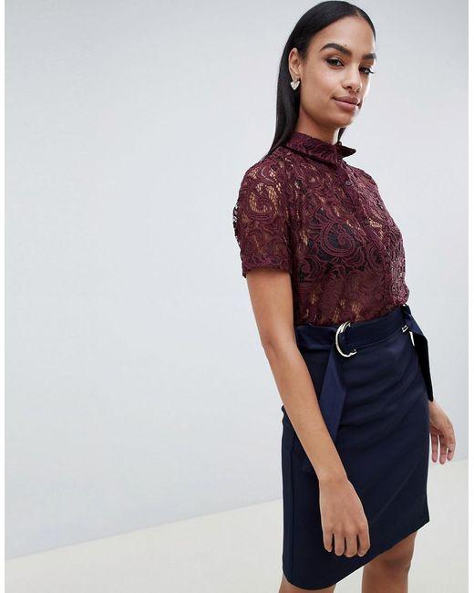 Vesper Purple Lace Short Sleeve Shirt