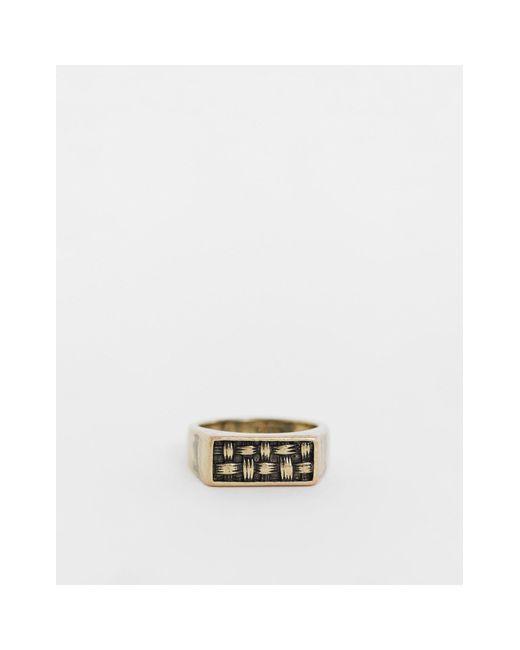 Золотистое Кольцо-печатка С Тиснением -золотистый Icon Brand для него, цвет: Metallic