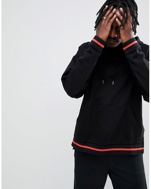 ASOS DESIGN - Oversized Hoodie With Step Hem And Tipping In Black for Men - Lyst