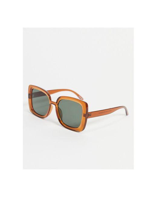 Солнцезащитные Oversized Очки В Стиле 70-х С Квадратной Полупрозрачной Оправой Коричневого Цвета ASOS, цвет: Brown