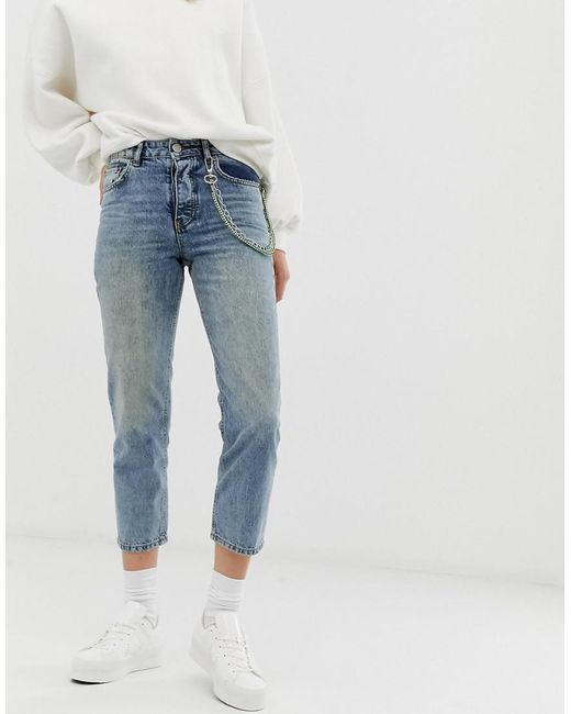 great quality best sneakers buying new Women's Blue Florence Authentic Straight Leg Jeans In Aged Wash With  Detachable Chain Detail