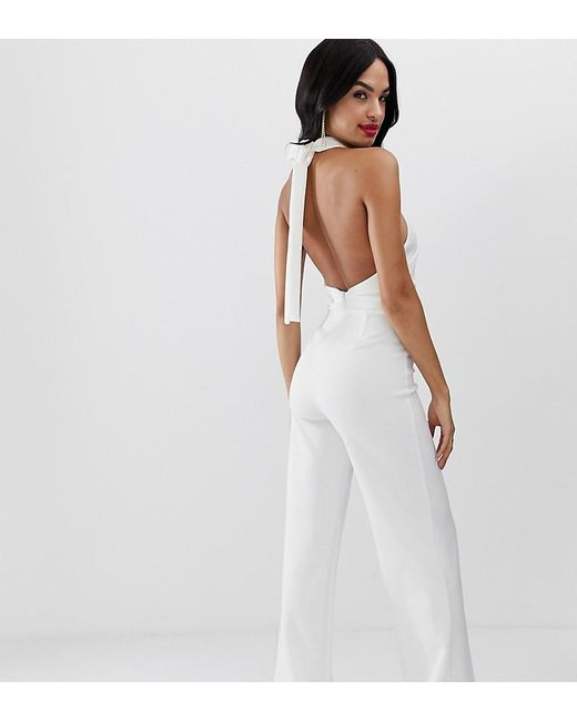 True Violet White Exclusive Wide Leg Halter Neck Jumpsuit In Ivory
