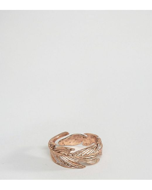 Icon Brand - Metallic Feather Ring In Rose Gold Exclusive To Asos for Men - Lyst