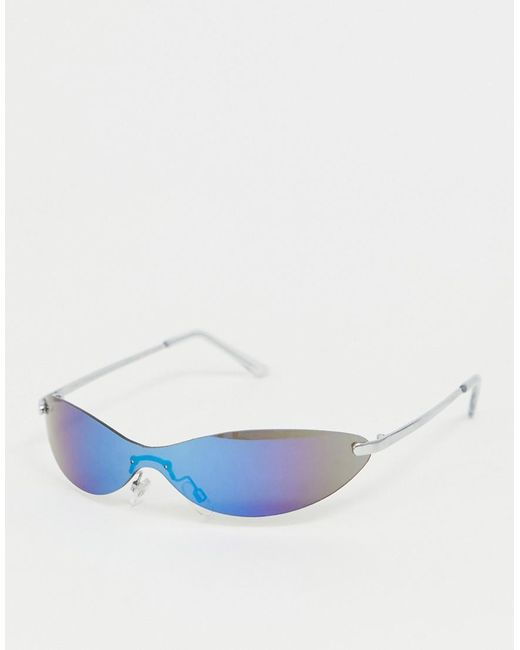 ASOS Metallic Skinny Visor Cat Eye Fashion Glasses In Blue Flash Lens