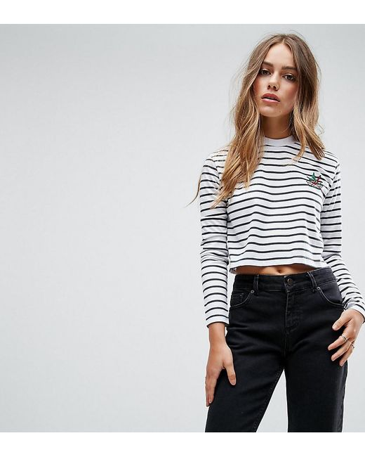 Daisy Street   White Crop Top With Tattoo Logo   Lyst
