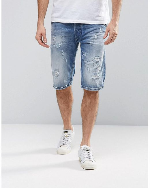 DIESEL   Blue Krowshort Distressed Denim Shorts for Men   Lyst