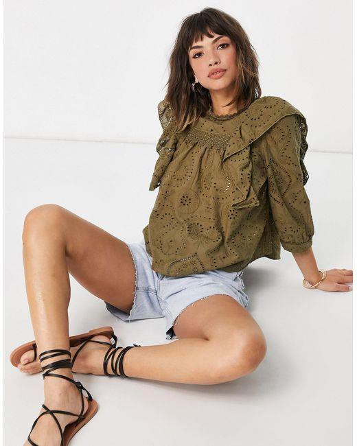 Блузка Цвета Хаки С Оборками И Вышивкой Ришелье От Комплекта -зеленый Цвет Y.A.S, цвет: Green