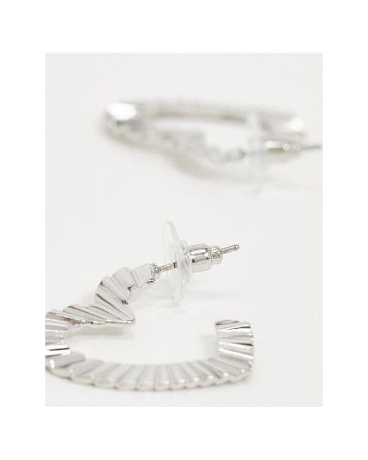 Серебристые Серьги-кольца С Отделкой ASOS, цвет: Metallic