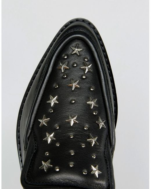 Nancy Black Star Studded Leather Flat Shoes - Black stud Sol Sana rl9weYQ8v