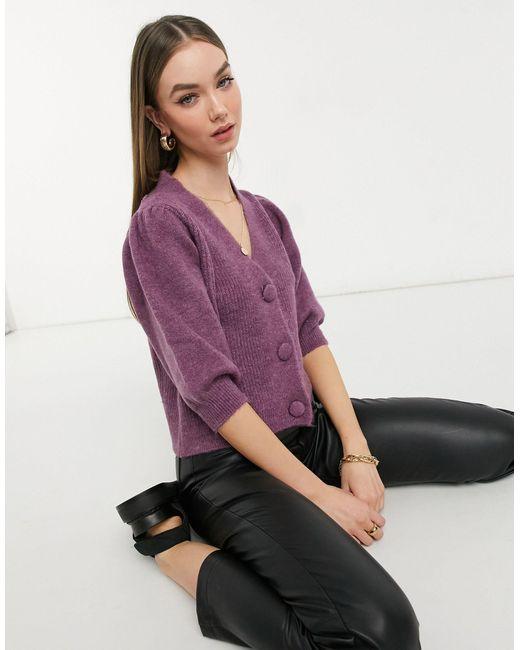 Vero Moda Purple – Strickjacke mit kurzen Puffärmeln